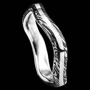 Bague ondulante en damas et argent bijoux-damas.com Pouillon