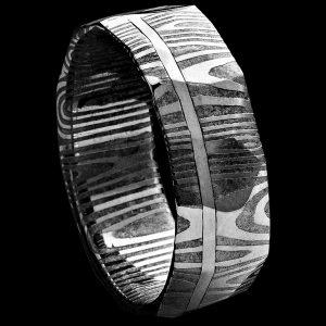 Alliance en damas et or gris facettée 7 MM | Bijoux damas - Pouillon (40)